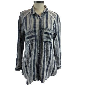 Umgee Striped Button Down w/Back Lace Top Small